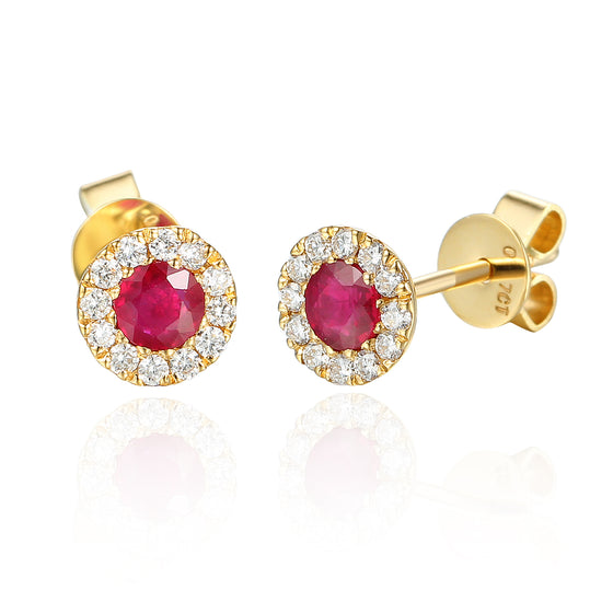 July Birthstone Ruby and Diamond Cluster gold studs