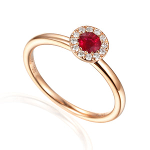 July Birthstone Ruby Cluster 9ct Gold Ring