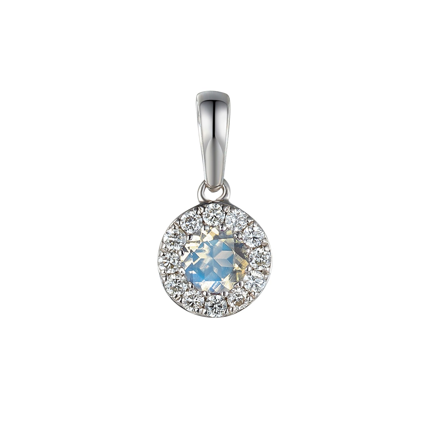June Birthstone Moonstone and Diamond Cluster Pendant 9ct Gold