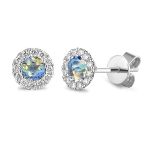 June Birthstone Moonstone and Diamond Cluster 9ct gold studs