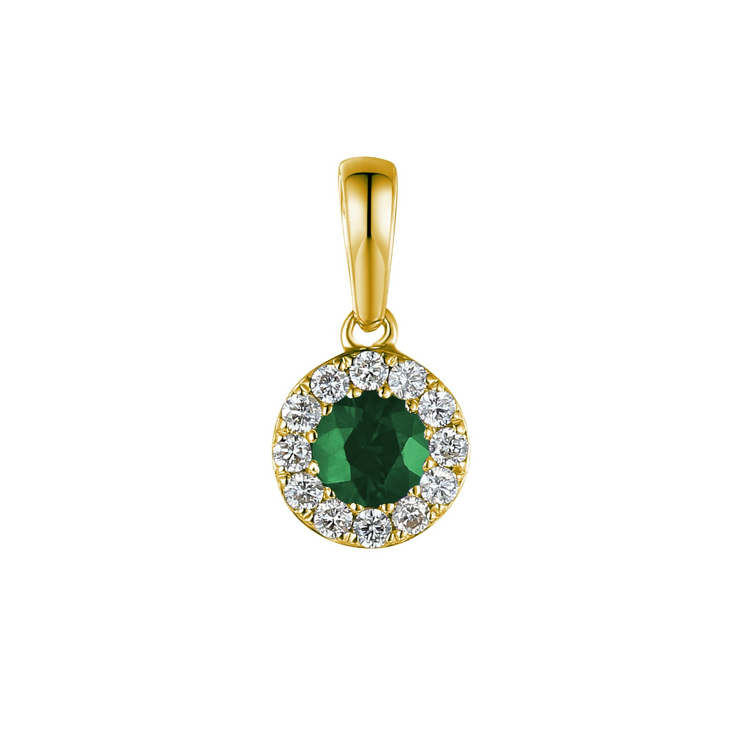 May Birthstone Emerald and Diamond Cluster Pendant 9ct Gold