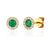 May Birthstone Emerald and Diamond Cluster gold studs