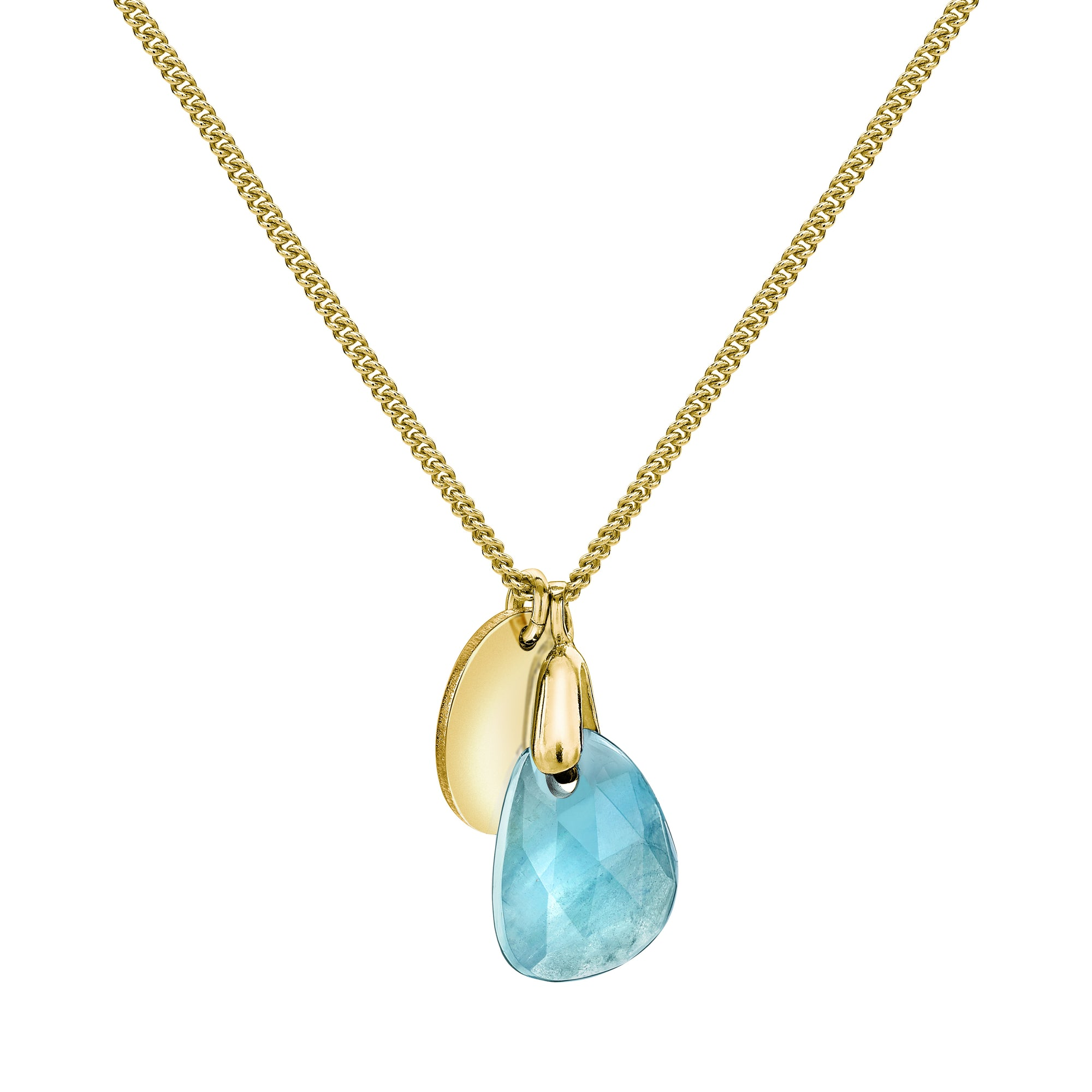 Aura Aqua Rose Cut Gold Plate Necklace