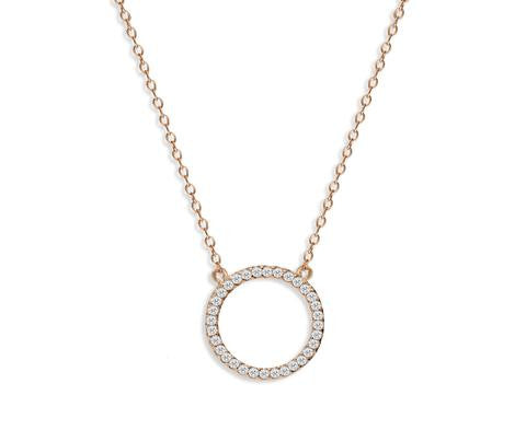 Rose Gold Plate Circle Of Life Necklace