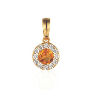 November Birthstone Citrine and Diamond Cluster Pendant 9ct Gold