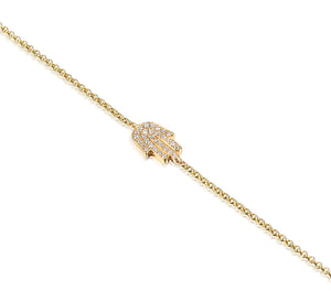 9ct Yellow Gold and Diamond Hamsa Bracelet