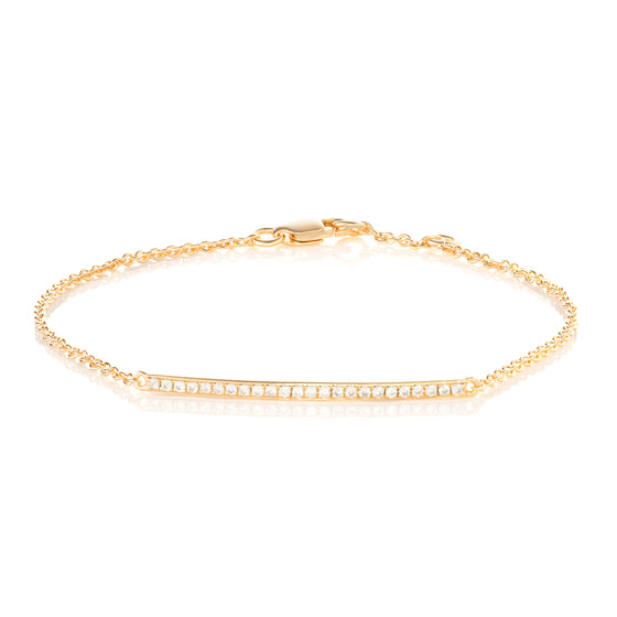 9ct Yellow Gold Diamond Bar Bracelet