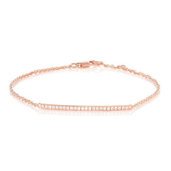 9ct Rose Gold Diamond Bar Bracelet