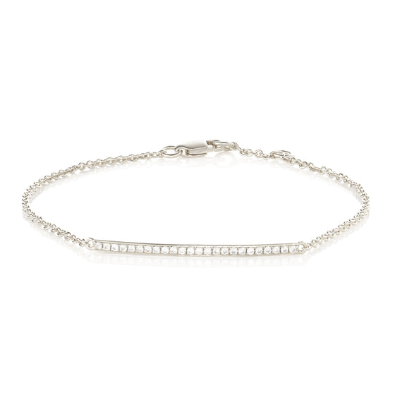 9ct White Gold Diamond Bar Bracelet