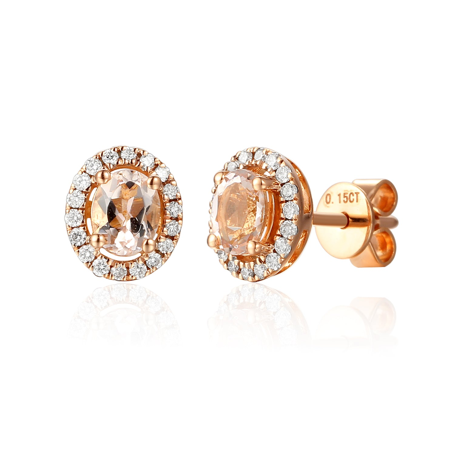 18ct Rose Gold Morganite and Diamond Cluster Stud Earrings