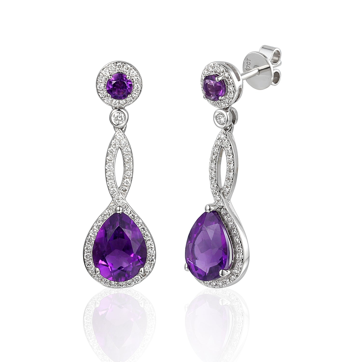 18ct White Gold Amethyst and Diamond Twist Drop Earring