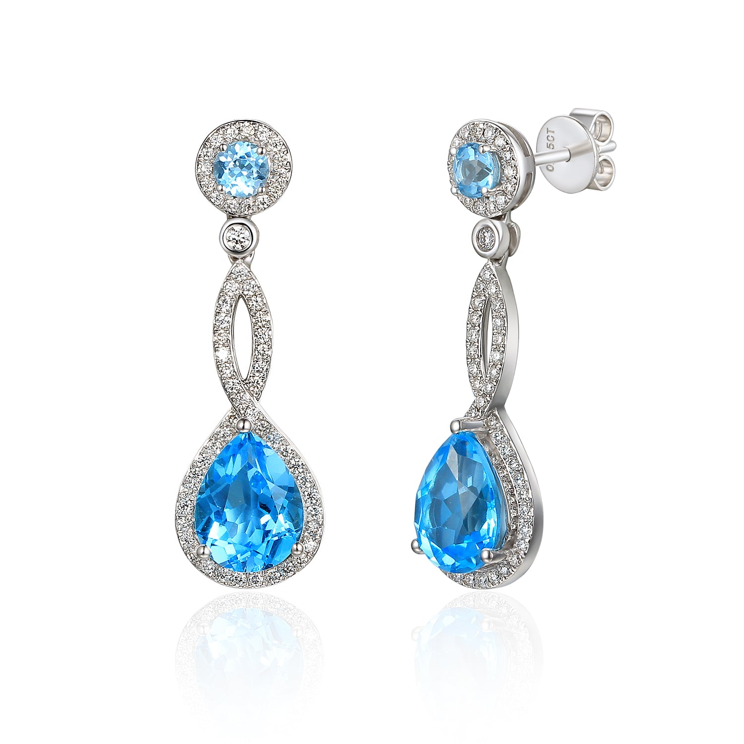 18ct White Gold Blue Topaz and Diamond Twist Drop Earring