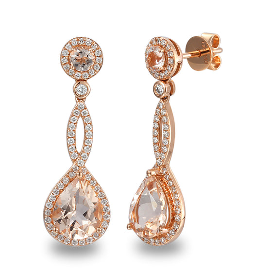 18ct Rose Gold Morganite and Diamond Twist Drop Earring