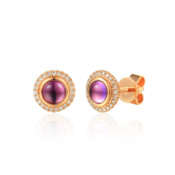9ct Rose Gold Round Cabochon Amethyst and Diamond Earring