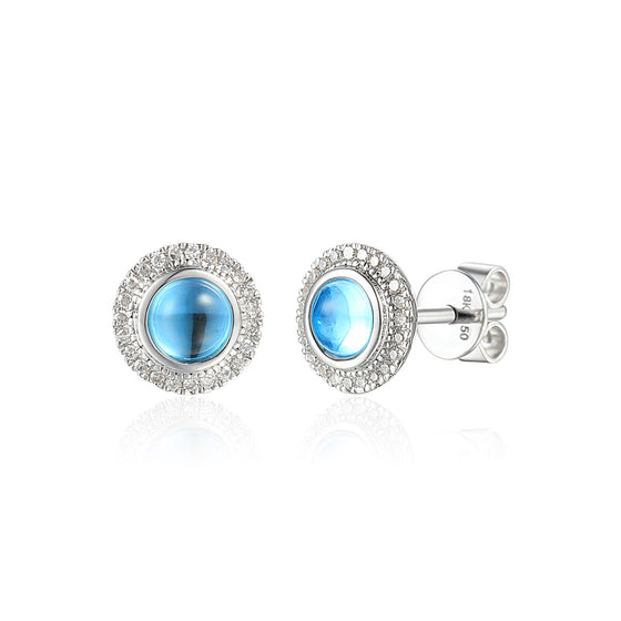 9ct White Gold Round Cabochon Blue Topaz and Diamond Earring