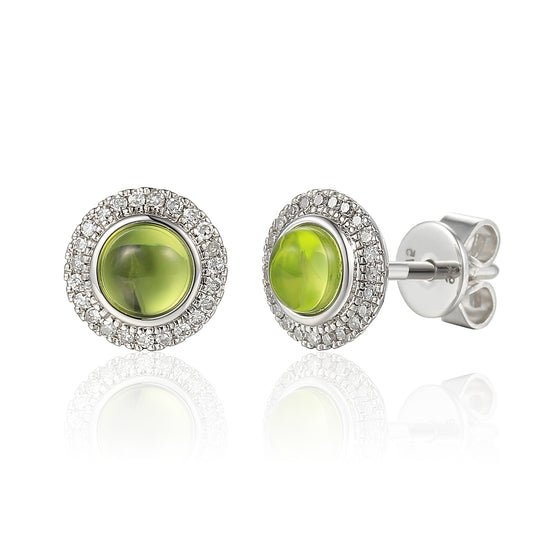 18ct White Gold Cabuchon Peridot and Diamond Earring