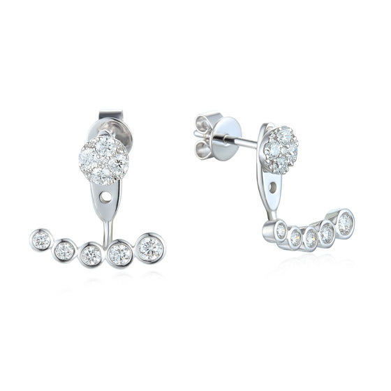 18ct White Gold Graduating Diamond Cluster Ear Jackets