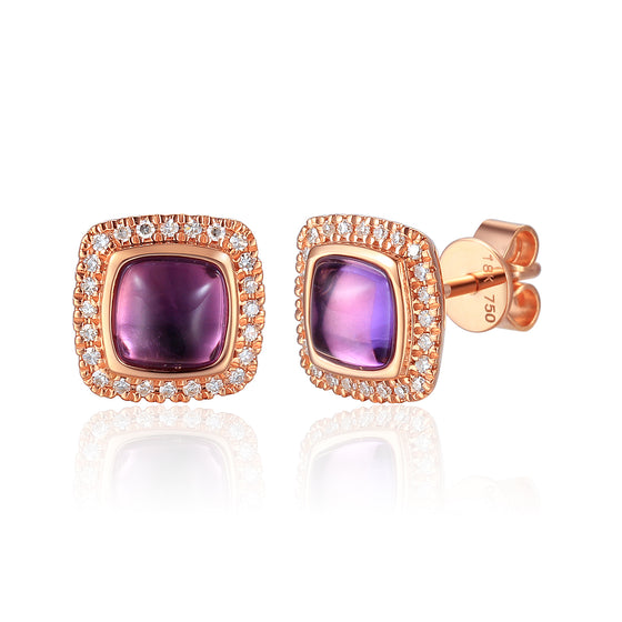 9ct Rose Gold Cabochon Cushion Amethyst and Diamond Earring