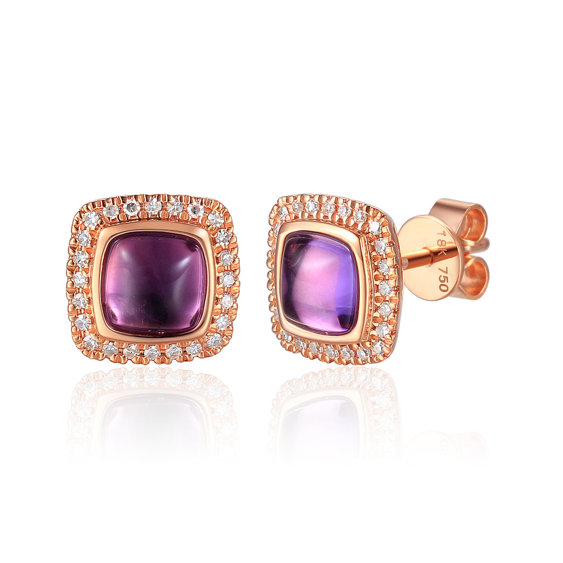 18ct Rose Gold Cabuchon Cushion Amethyst and Diamond Earring