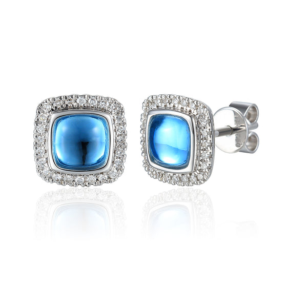 18ct White Gold Cushion Cabuchon Blue Topaz and Diamond Earring