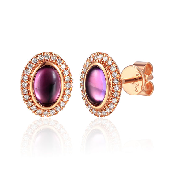 9ct Rose Gold Oval Cabochon Amethyst and Diamond Earring
