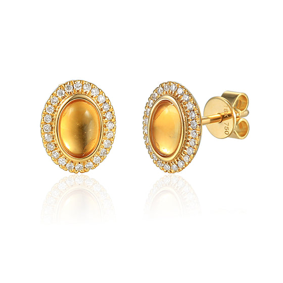 18ct Yellow Gold Oval Cabuchon Citrine and Diamond Earring