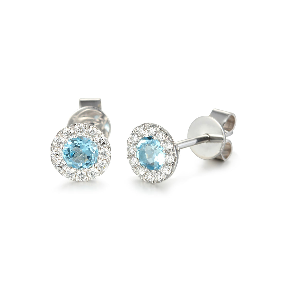 Blue Topaz and Diamond Cluster white gold studs