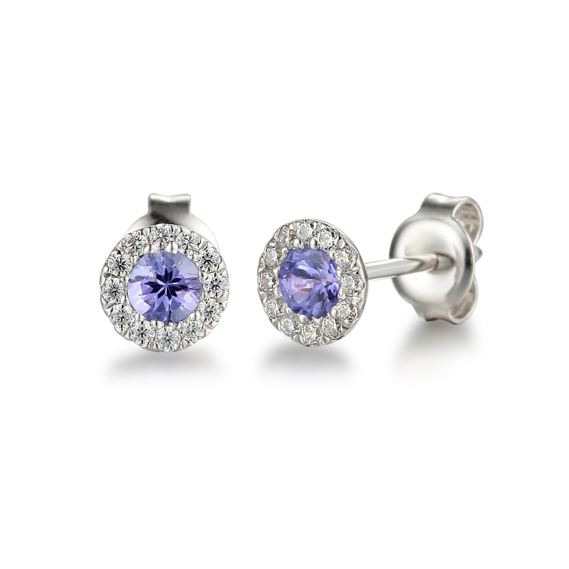 Tanzanite and Diamond Cluster white gold studs
