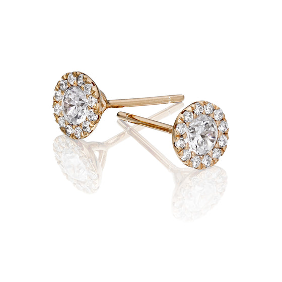 Rose Gold Plate Pave Crystal Cluster Stud Earring