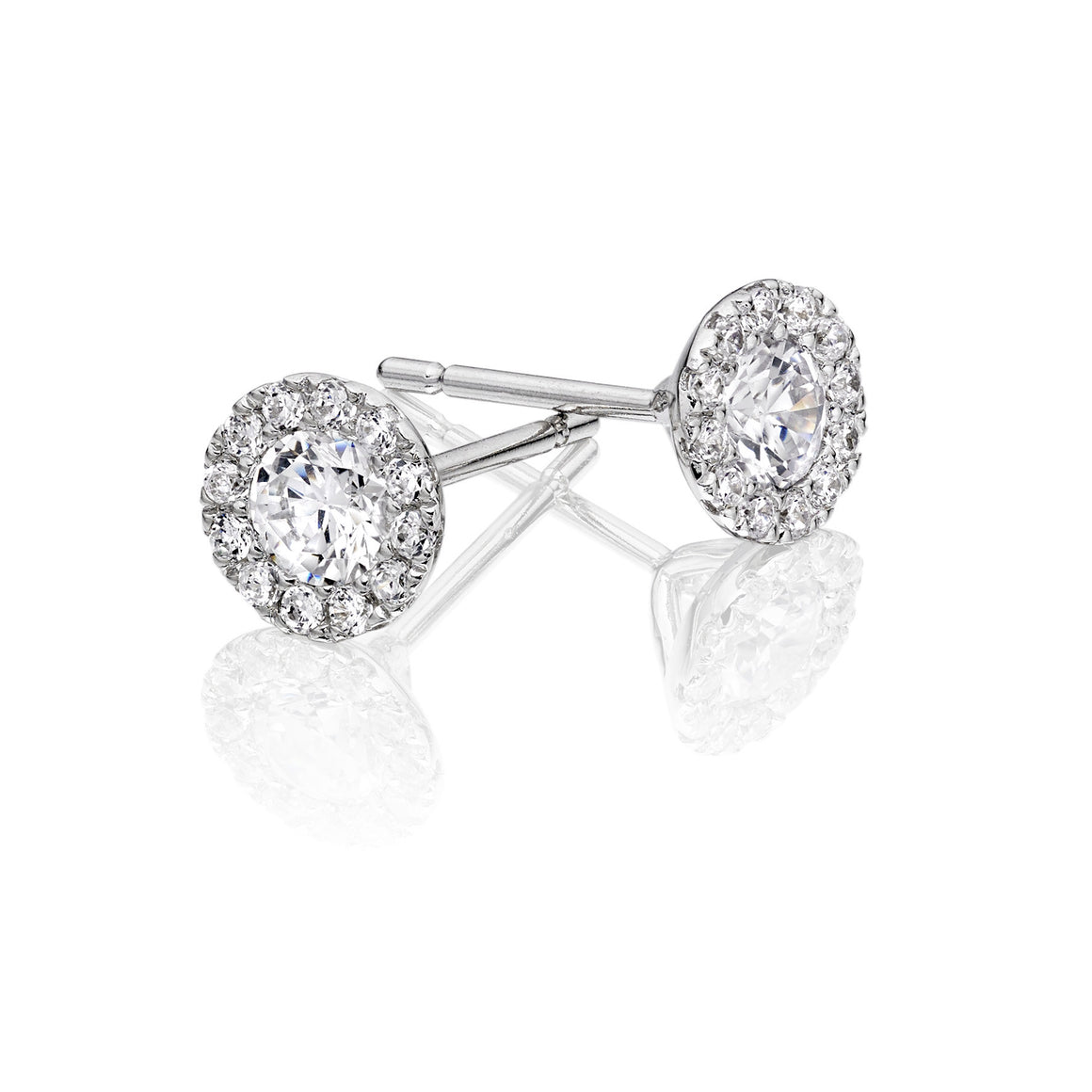 Sterling Silver Pave Crystal Cluster Stud Earring