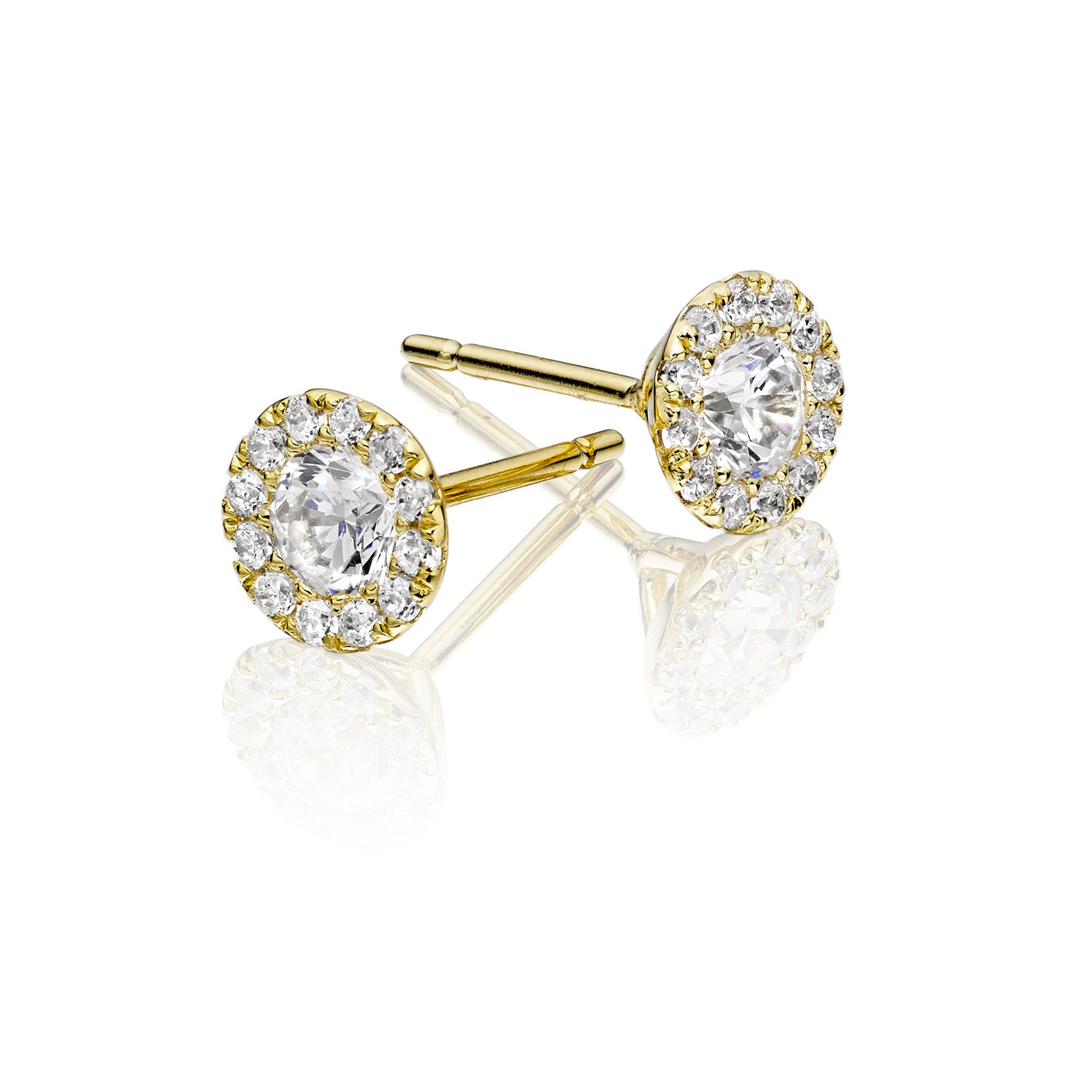 Gold Plate Pave Crystal Cluster Stud Earring