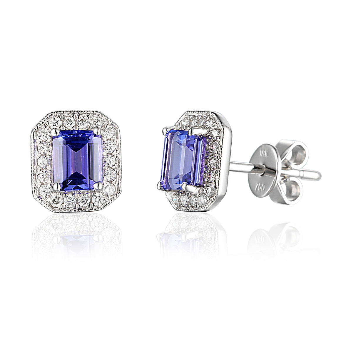 Tanzanite and Diamond Octagon Cluster White Gold Earrings
