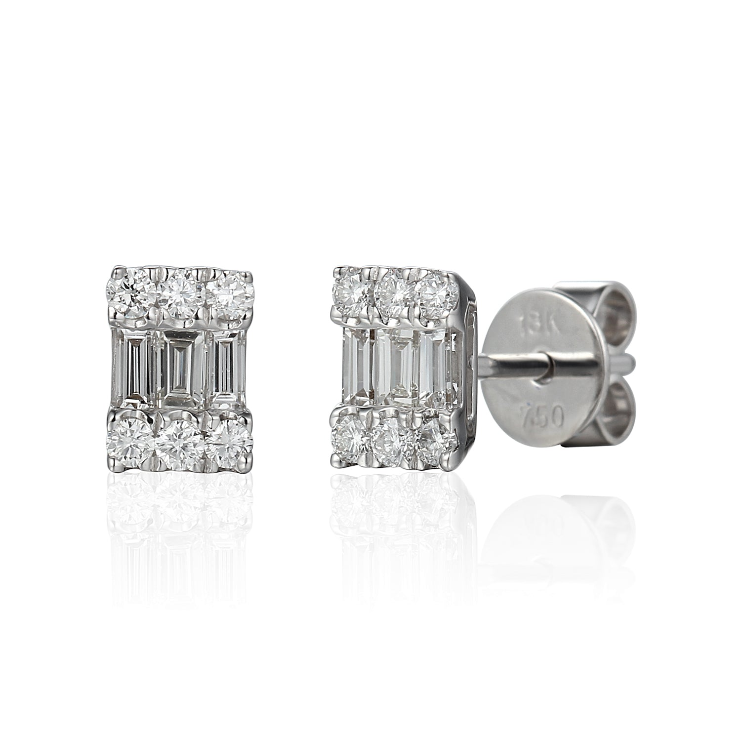 18ct White Gold Diamond Illusion set Baguette Earrings