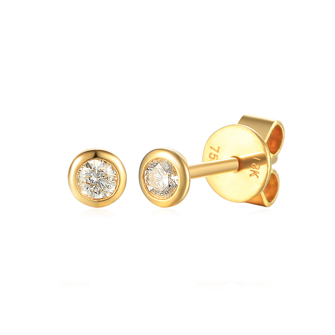 18ct Yellow Gold Rubover Small 0.10ct Diamond Stud Earrings