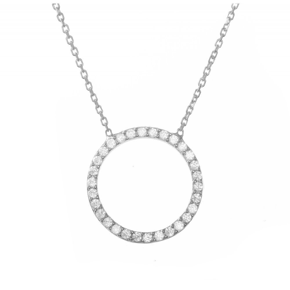 Sterling Silver Open Circle Set with Pave Crystal