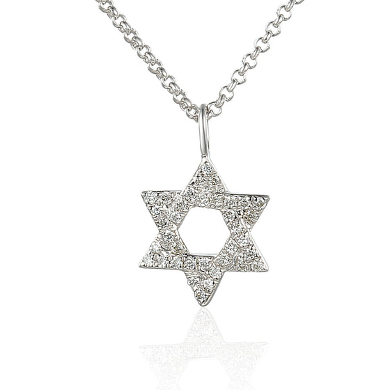 9ct White Gold and Pave Diamond Star of David Necklace
