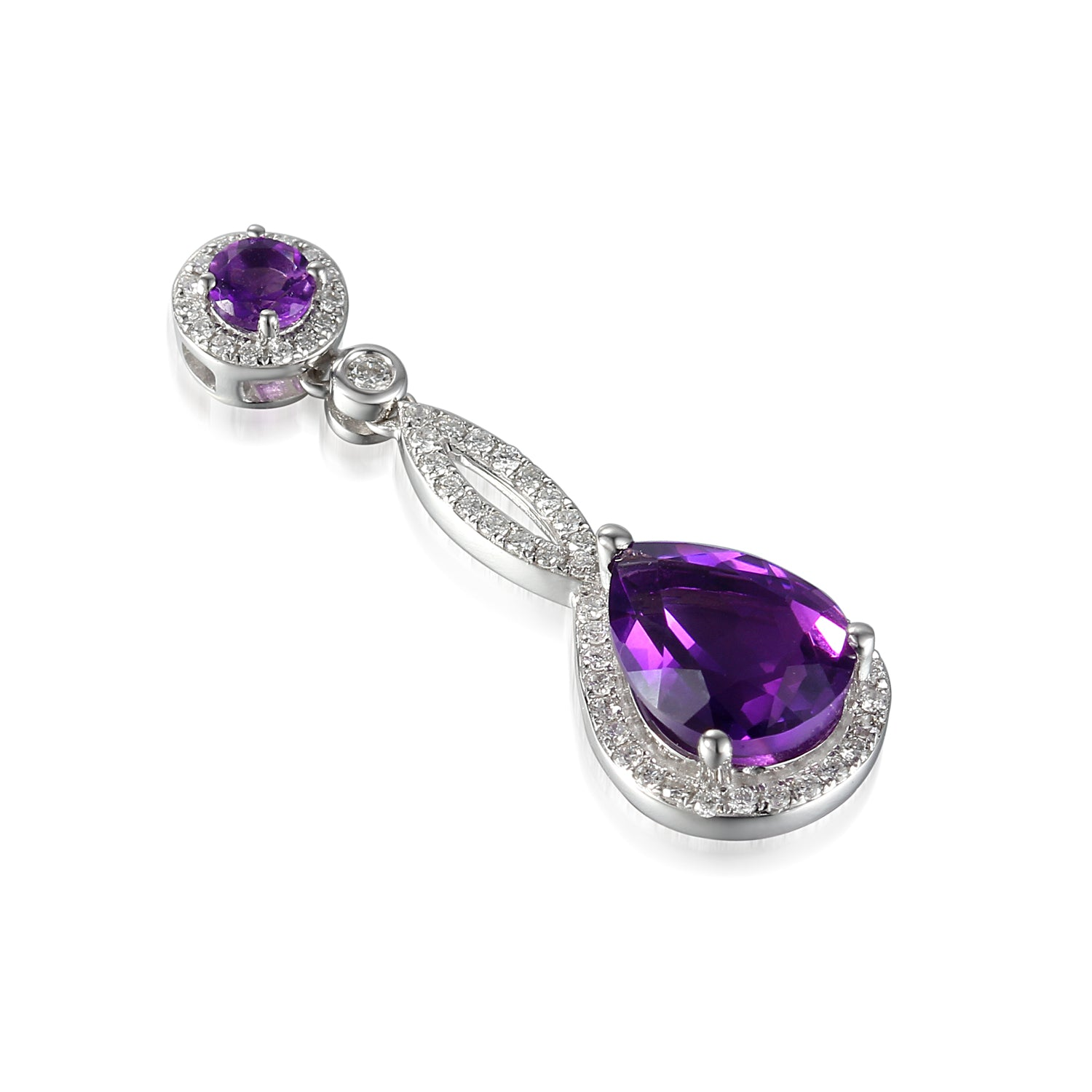 18ct White Gold Amethyst and Diamond Twist Drop Pendant