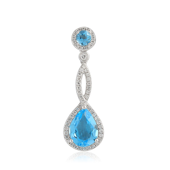 18ct White Gold Blue Topaz and Diamond Twist Drop Pendant