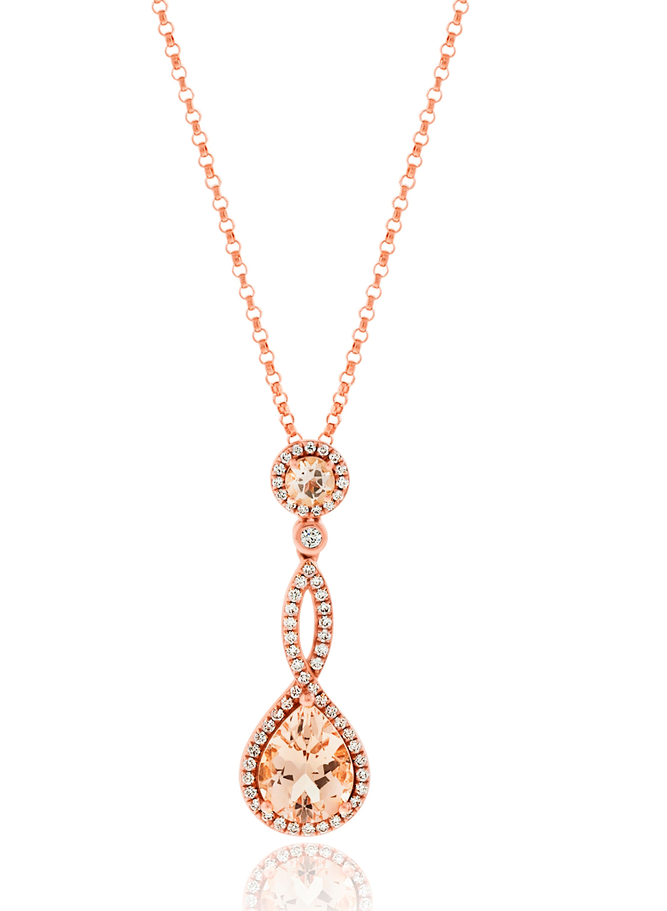 gold accent and infinity diamond rose necklace in diamore heart p morganite qlt halo prod pendant wid hei