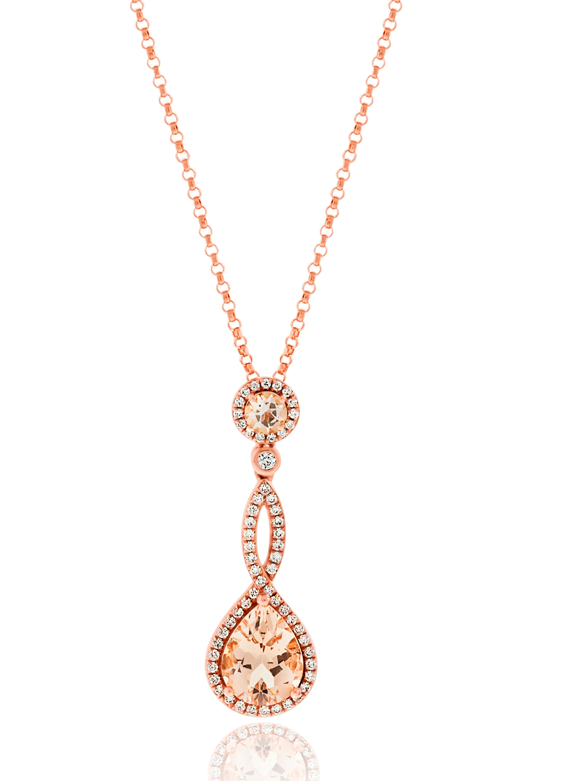 18ct Rose Gold Morganite and Diamond Twist Drop Pendant on chain