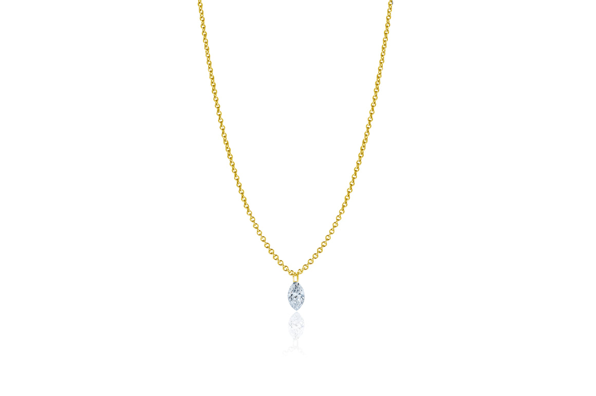 Marquise Lustre 18ct Yellow Gold Drilled 0.18ct Diamond Pendant