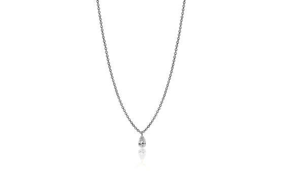 Pear Shape Lustre 18ct White Gold Drilled 0.18ct Diamond Pendant
