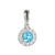 Blue Topaz and Diamond Cluster Pendant White Gold