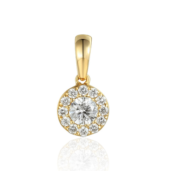 April Birthstone Diamond Cluster 9ct Gold Pendant