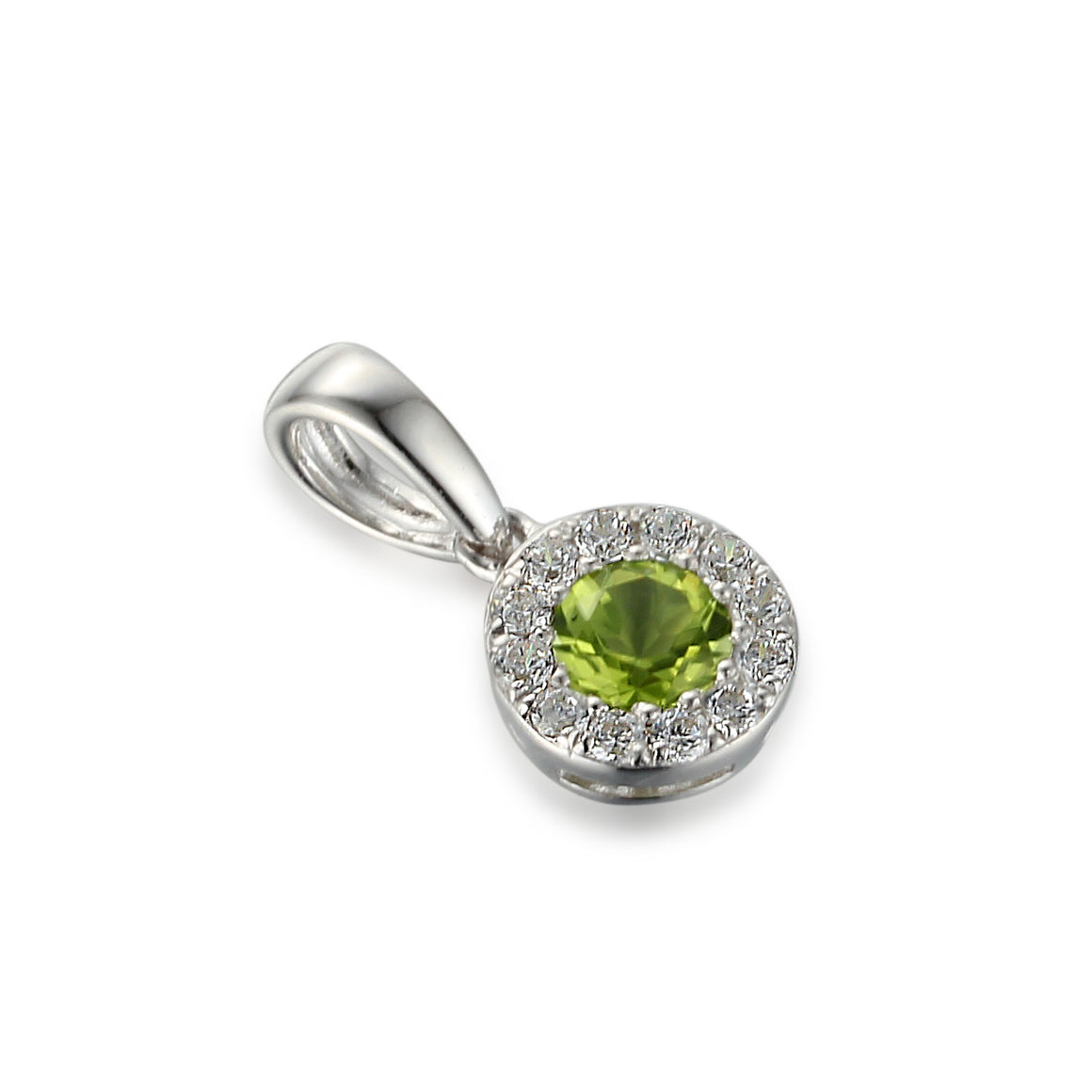 Peridot and Diamond Cluster Pendant White Gold