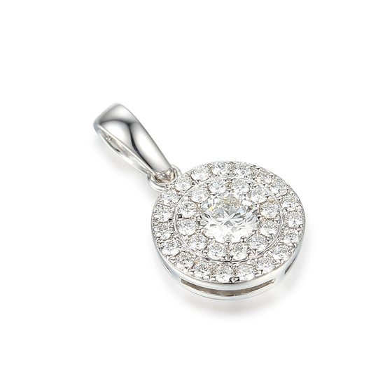 18ct White Gold Two Row Diamond Cluster Pendant