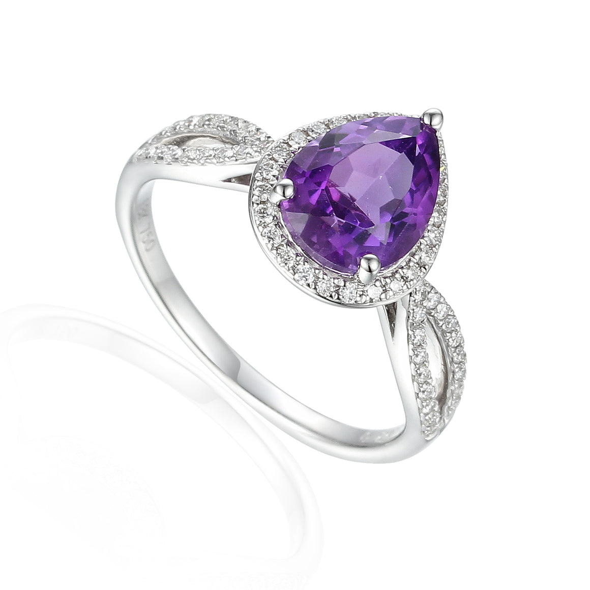 18ct White Gold Pear Shape Amethyst and Diamond Fancy Ring