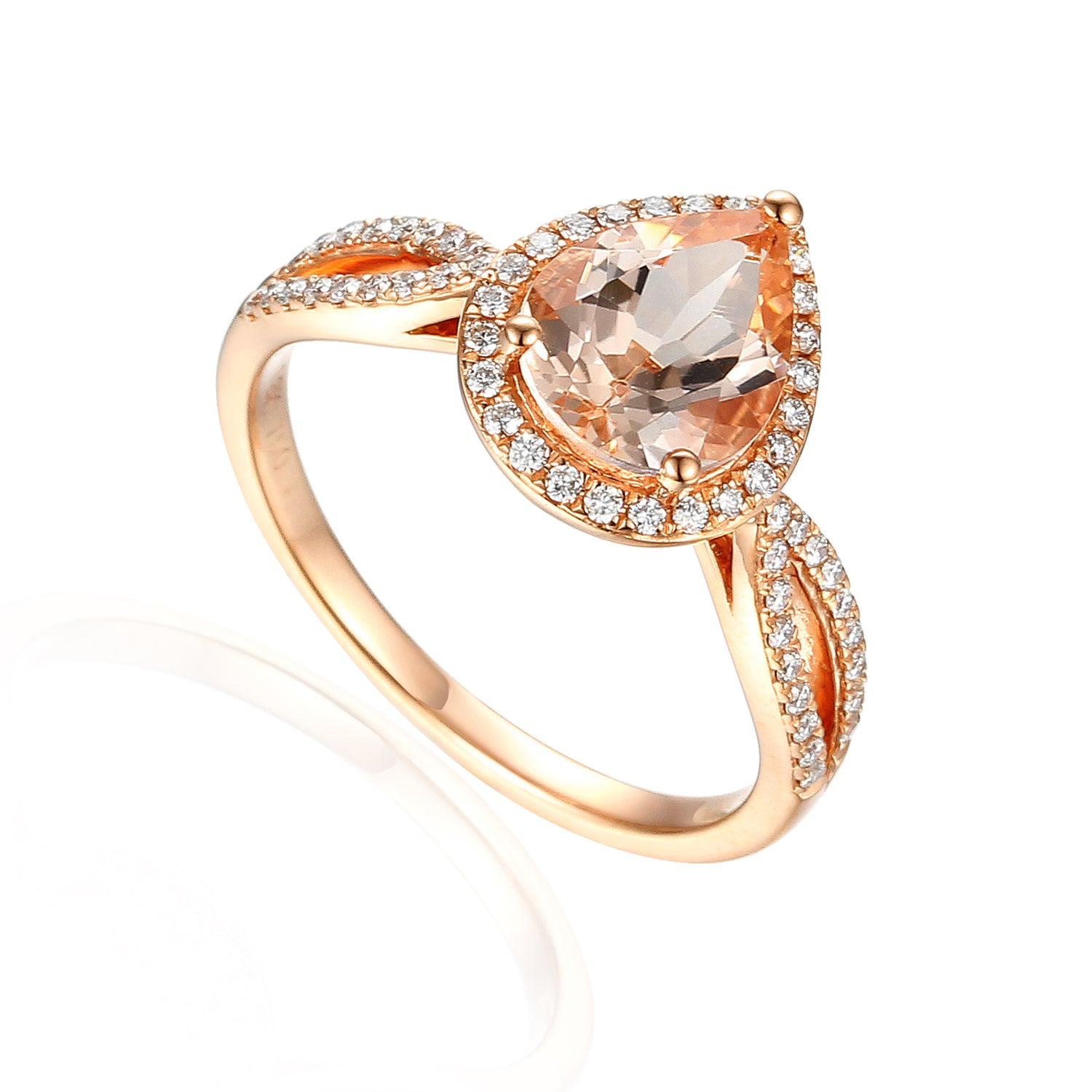 18ct Rose Gold Pear Shape Morganite and Diamond Fancy Ring