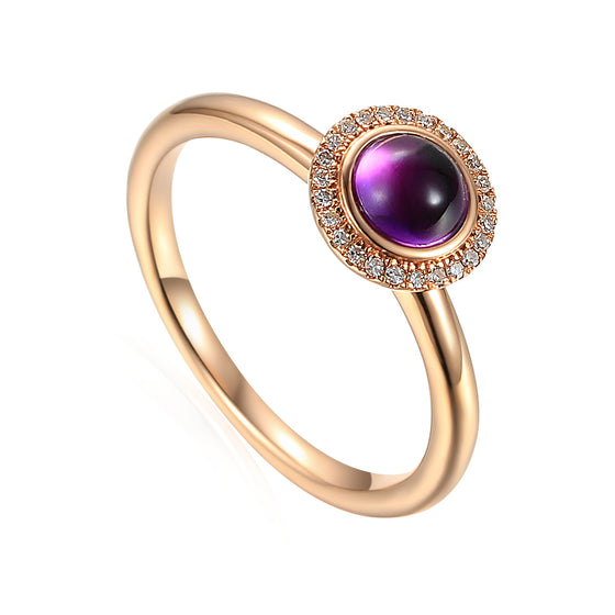 9ct Rose Gold Cabochon Amethyst and Diamond Ring