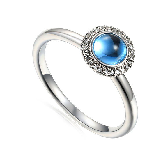18ct White Gold Cabuchon Blue Topaz and Diamond Ring